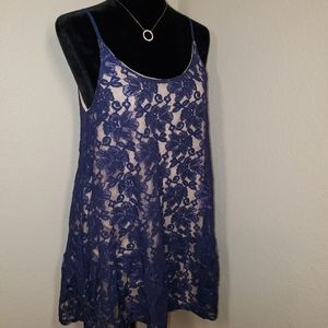 Blue Lace Baby Doll Dress